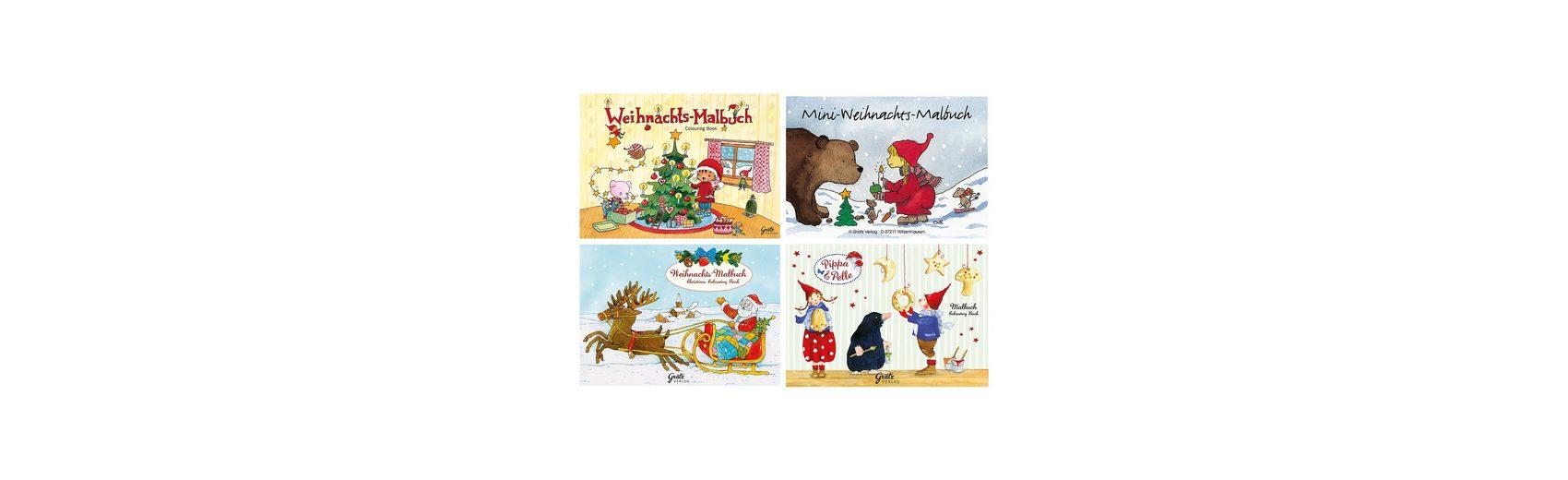 Grätz Verlag Weihnachts-Malbuchset für Kinder, 4 Stück