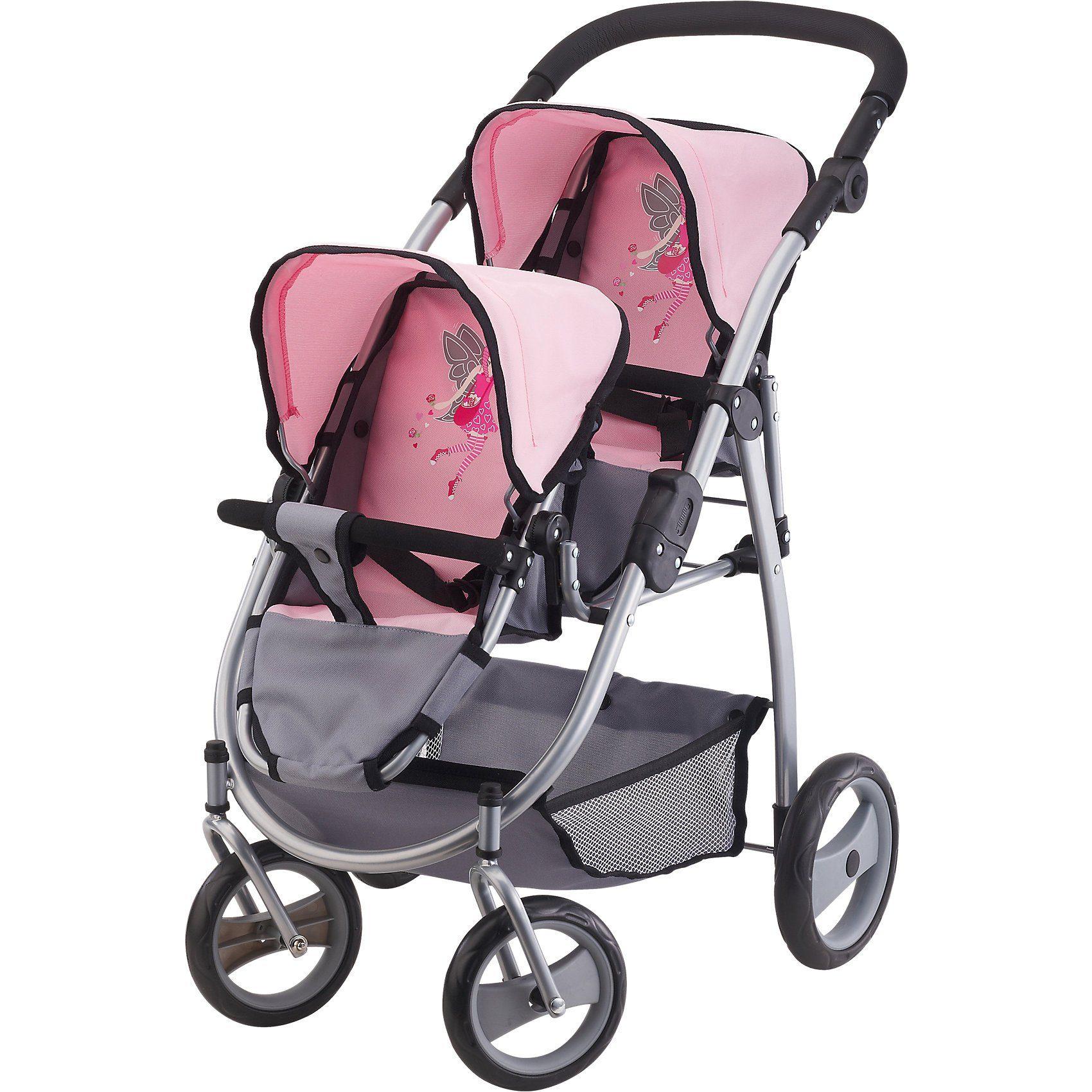 Bayer Zwillingspuppenwagen pink/grau