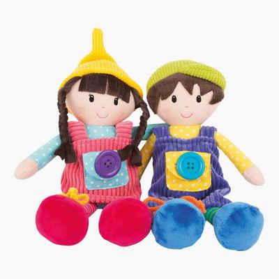 """Small Foot Stoffpuppe »Stoffpuppen """"Noah & Emma""""« (Spar-Set, 2 Puppen Noah & Emma), Mit raffinierten Details wie Knöpfen, Klettverschlüssen und Schnürsenkeln"""