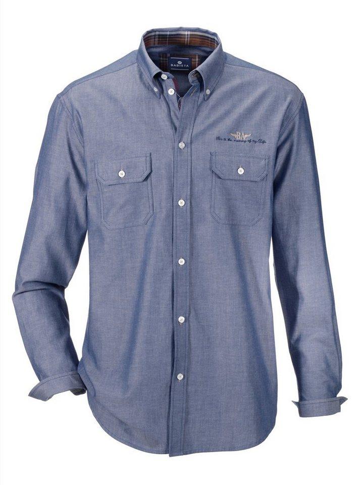 Babista Hemd mit zwei Brusttaschen in weiß-blau