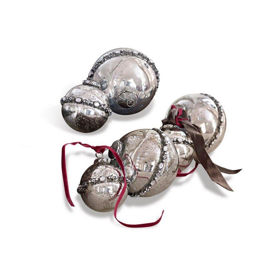Loberon Weihnachtsschmuck 6er-Set »Cloé« in antiksilber