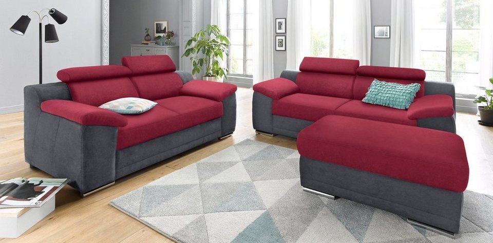 Sit&More 3-Sitzer in grau/bordeaux