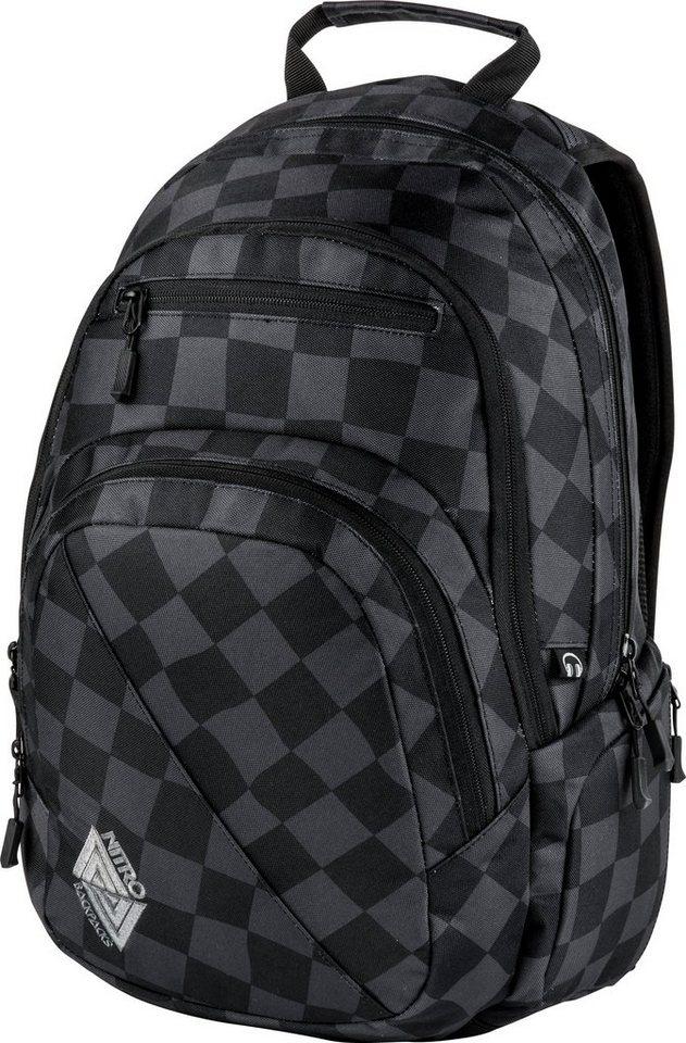 Nitro Schulrucksack, »Stash Black Checker« in schwarz