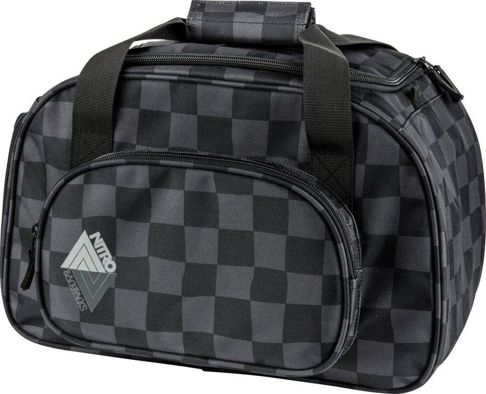 Nitro Reisetasche mit Schuhfach, »Duffle Bag XS Black Checker« in schwarz