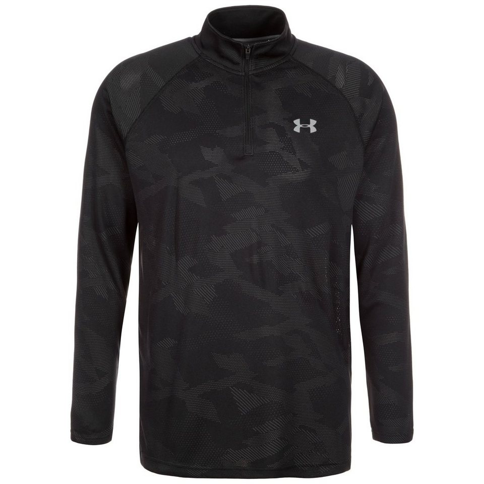 Under Armour® HeatGear Tech Jacquard Trainingslongsleeve Herren in schwarz / anthrazit