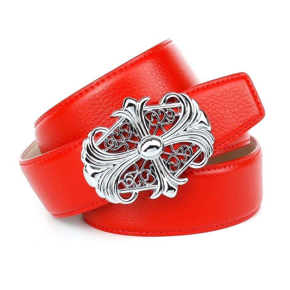 Anthoni Crown Ledergürtel mit Unterführung in Rot