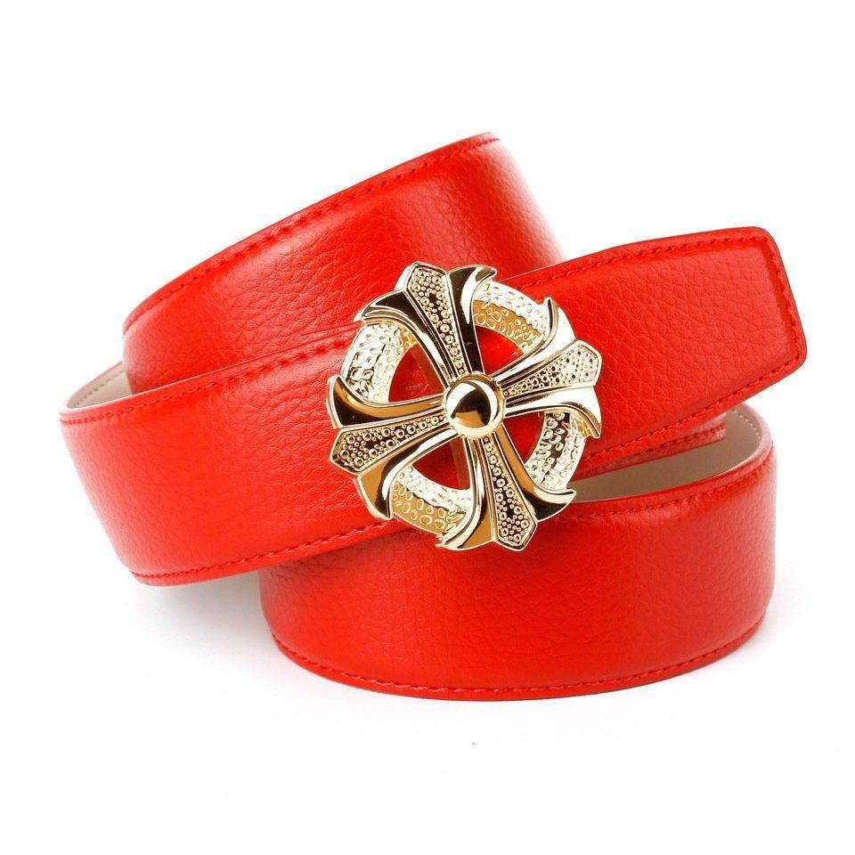 Anthoni Crown Ledergürtel für Jeans in Rot