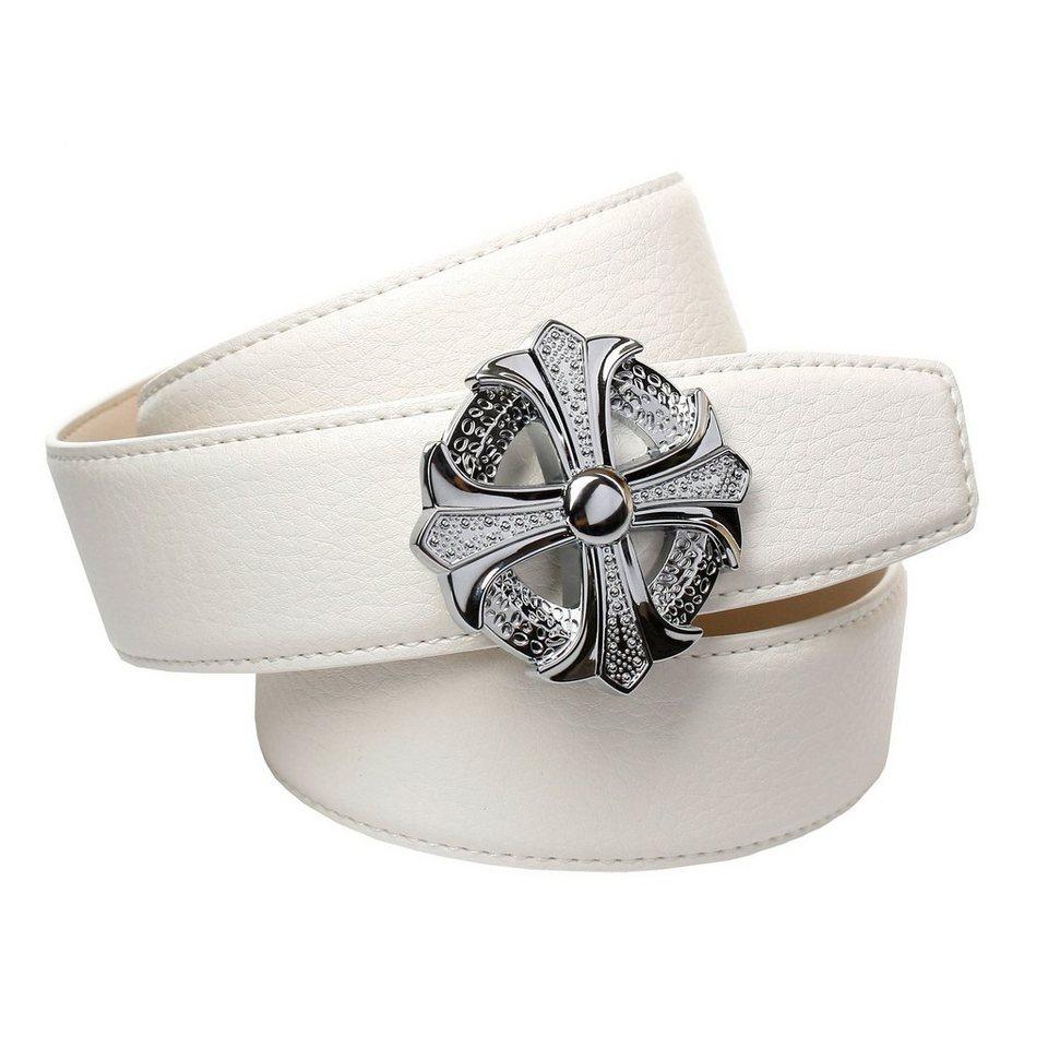 Anthoni Crown Ledergürtel für Jeans in Weiss