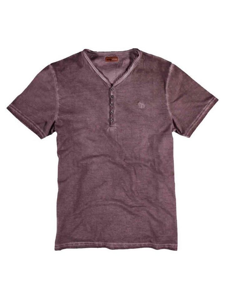 emilio adani Henley T-Shirt in Rubinrot