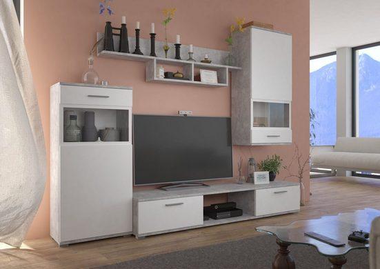 Küchen-Preisbombe Wohnwand »TOP Wohnwand Blues Anbauwand Wohnkombi Wohnzimmer Weiss matt + Beton hell Optik«