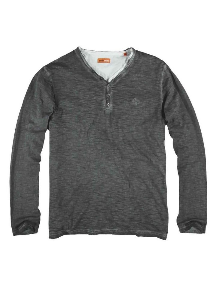 emilio adani Henley Shirt in Stahlgrau