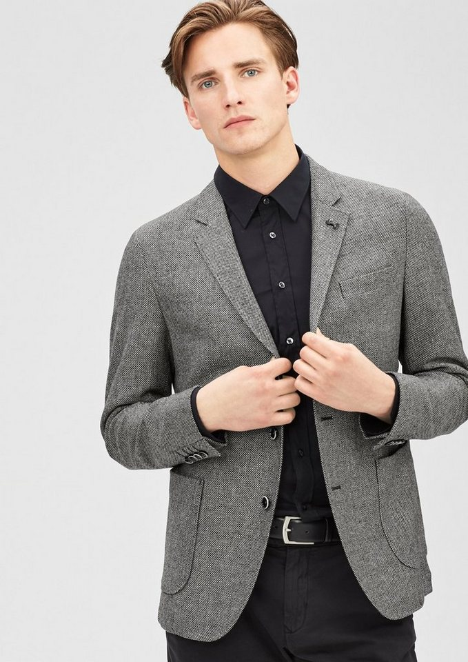 s.Oliver BLACK LABEL Modern Fit: Sakko aus Tweed in black tweed