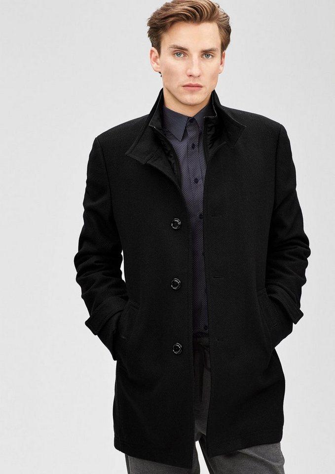 s.Oliver BLACK LABEL Modern Fit: Kurzmantel mit Struktur in black