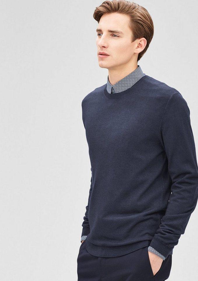 s.Oliver BLACK LABEL Leichter Pullover aus Merinowolle in sailor blue