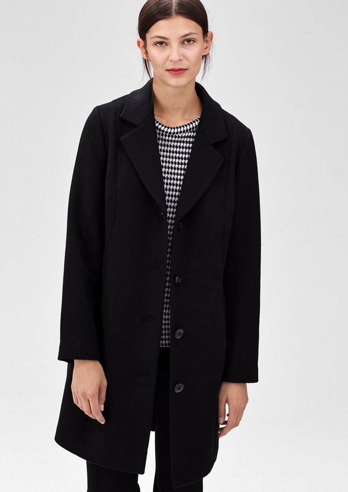 s.Oliver BLACK LABEL Eleganter Mantel aus Woll-Mix in winter black