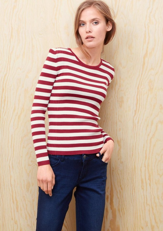 s.Oliver RED LABEL Gerippter Streifenpulli in winter berry stripes