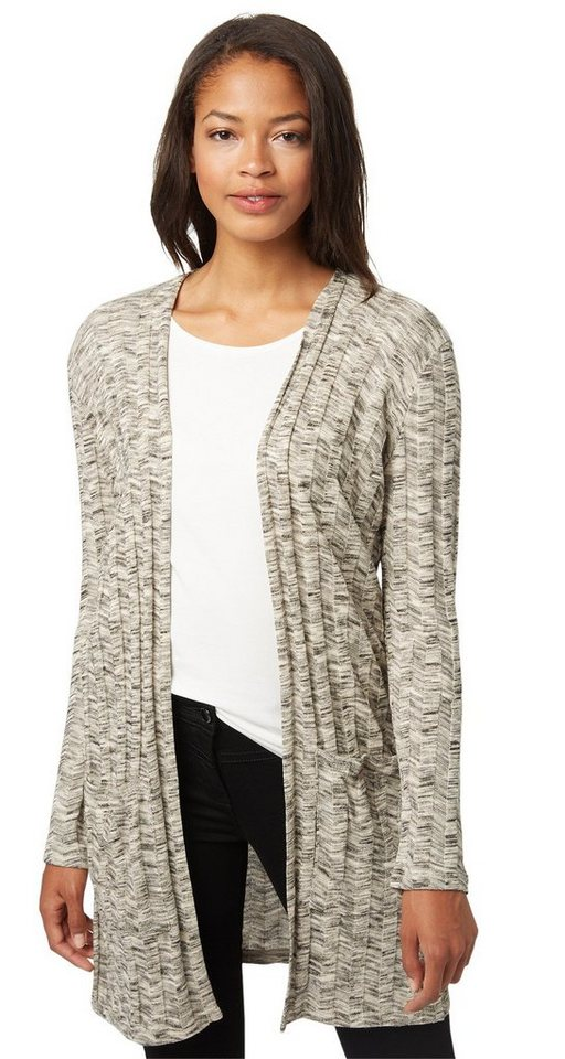 TOM TAILOR Strickjacke »langer Ripp-Cardigan mit Muster« in bleached grey melang