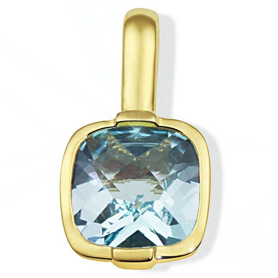 goldmaid Anhänger 333/- Gelbgold 1 hellblauer Topas im Schachbrettschliff in goldfarben