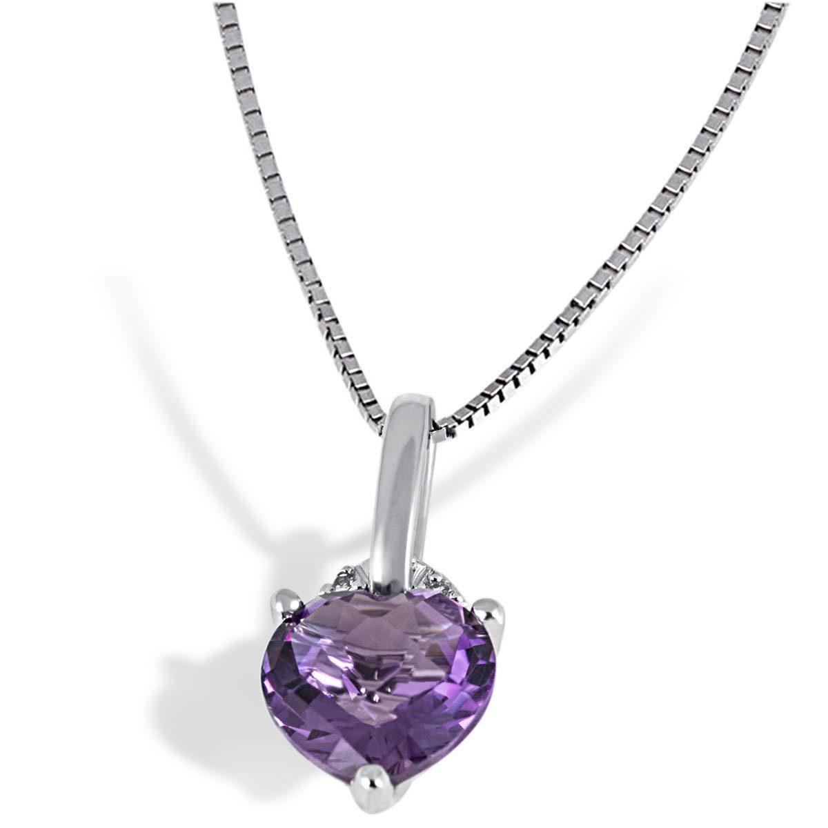 goldmaid Collier Amethystherz 375/- Weißgold 1 Amethyst 3 Diamanten 0,01