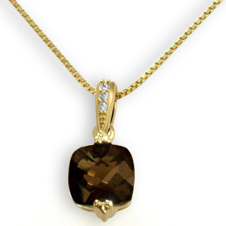 goldmaid Collier 333/- Gelbgold 1 Rauchquarz 3 Diamanten 0,02 ct. in goldfarben