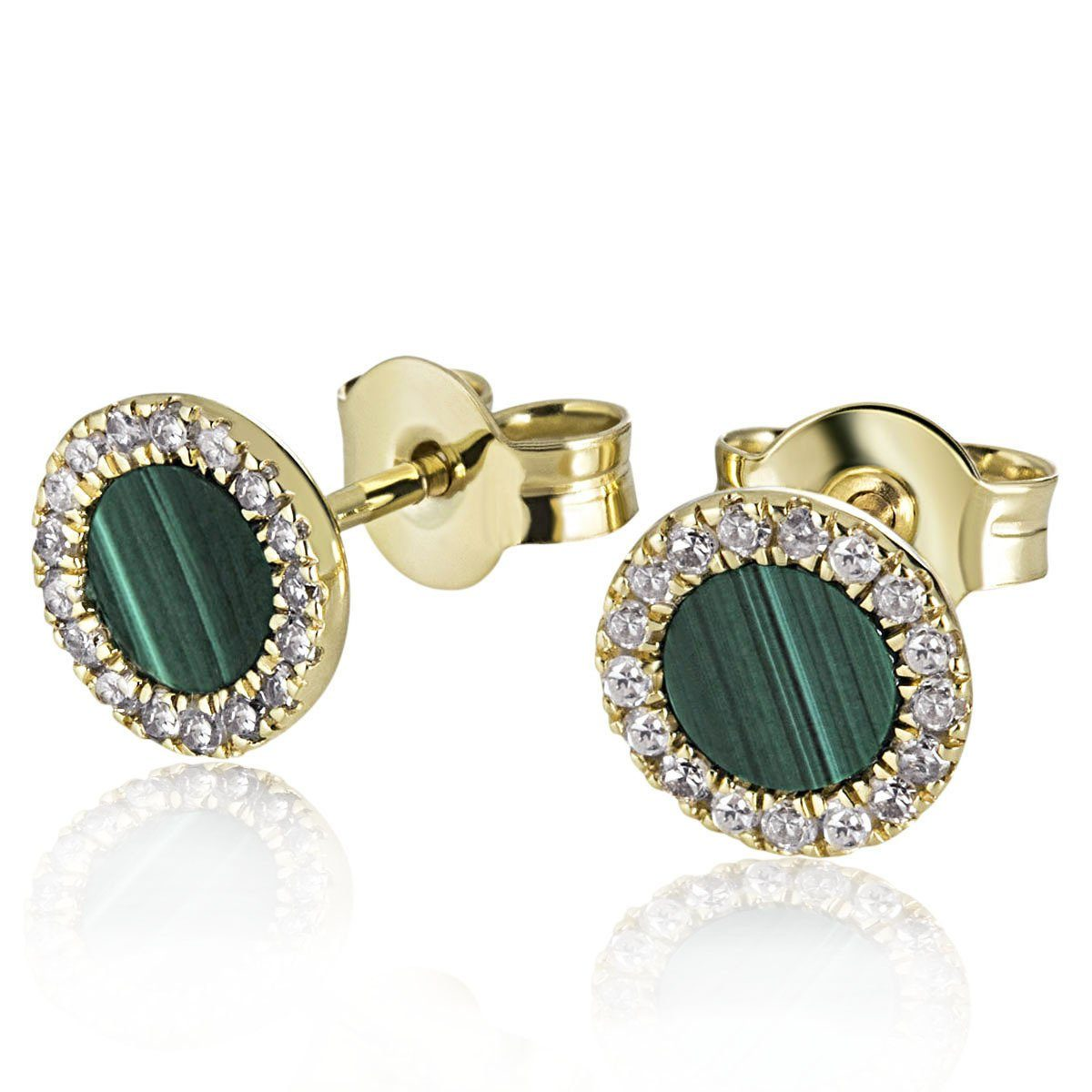 goldmaid Paar Ohrstecker Hope 375/- Gelbgold 2 Malachite 34 Diamanten 0,1