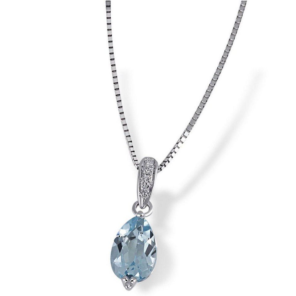 goldmaid Collier 375/- Weißgold 1 Blautopas 3 Diamanten 0,02 ct. in silberfarben