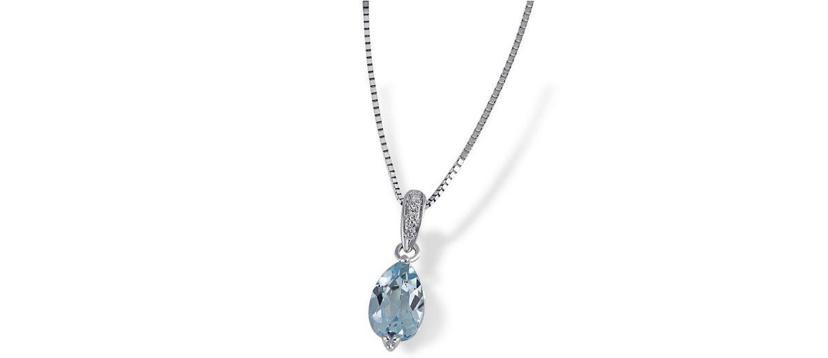 goldmaid Collier 375/- Weißgold 1 Blautopas 3 Diamanten 0,02 ct.