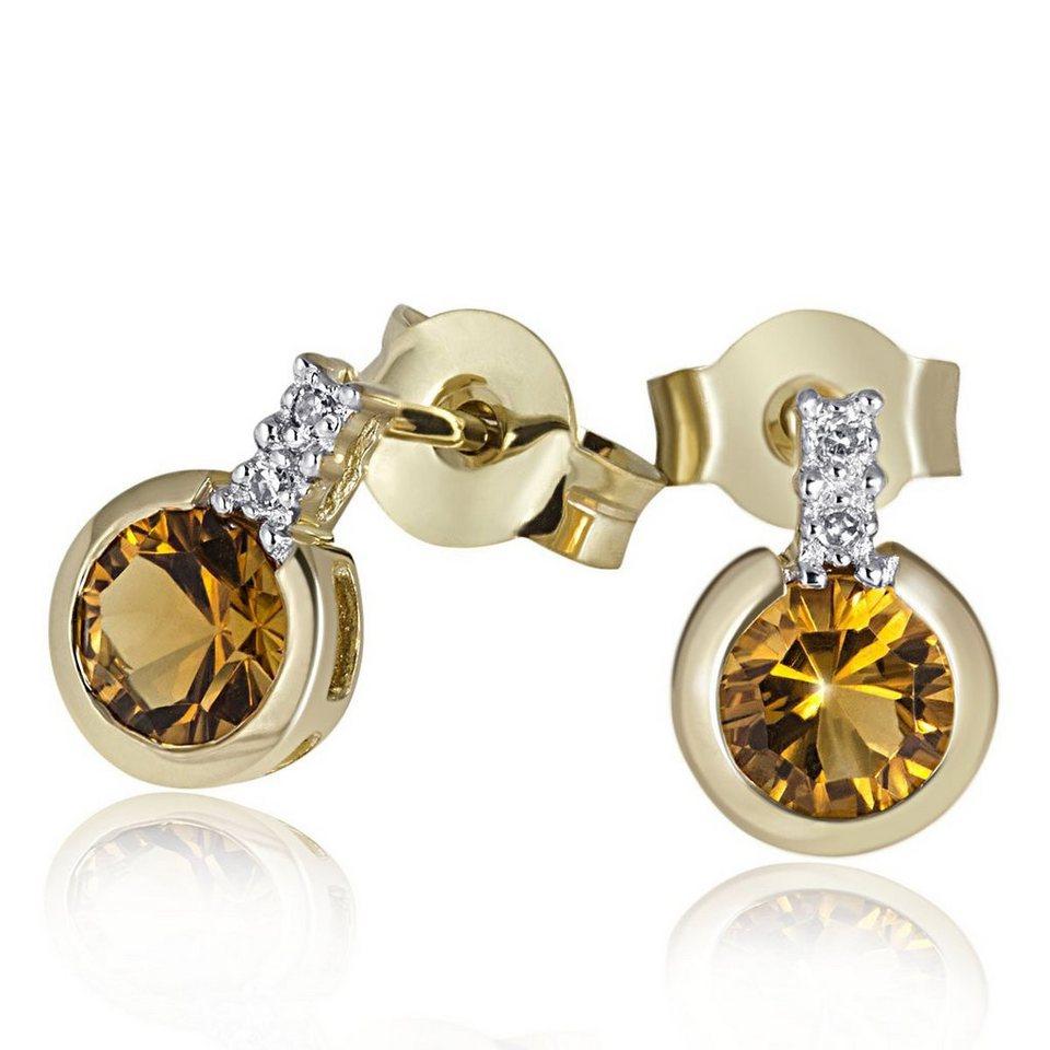 goldmaid Paar Ohrhänger 585/- Gelbgold 2 Citrine 4 Diamanten 0,02 ct. in gelbgold
