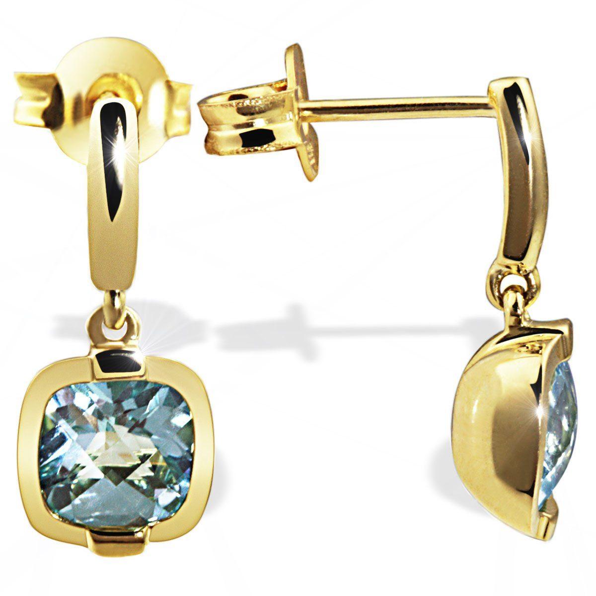 goldmaid Paar Ohrstecker 333/- Gelbgold 2 hellblaue Topase im Schachbrett