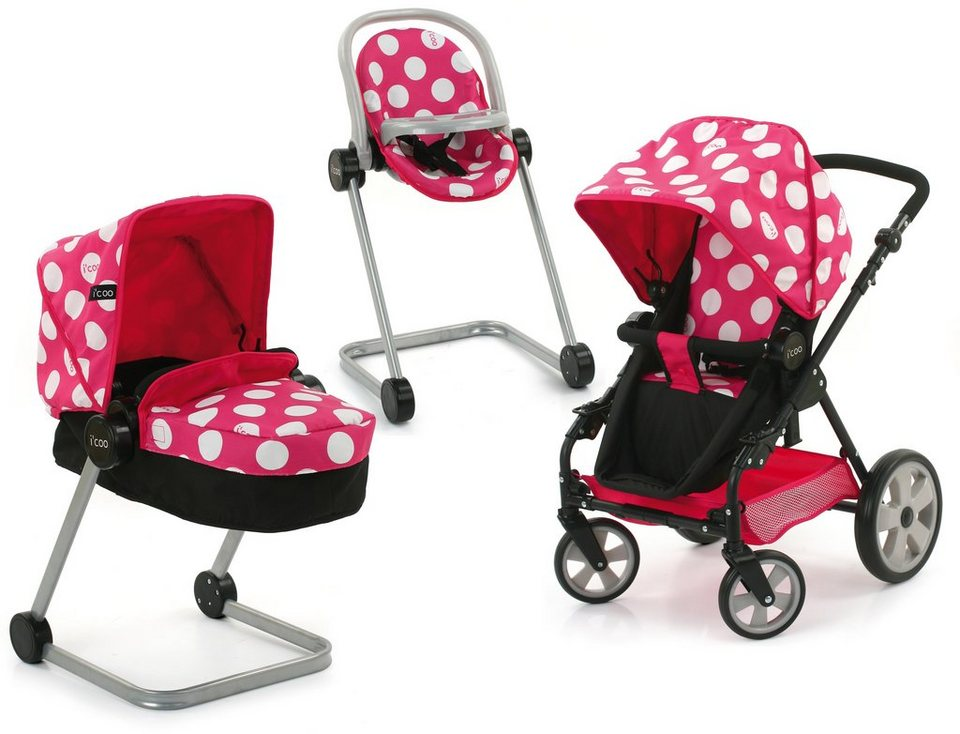 hauck TOYS FOR KIDS Puppenwagen-Set 4tlg., »i'coo Grow with me Set, Dotty Pink« in weiss/buche