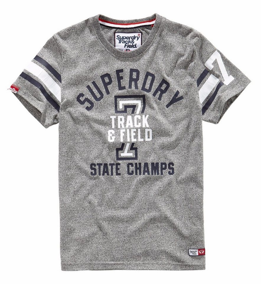 Superdry T-Shirt »TRACKSTER SPRINT S/S TEE« in grau-meliert