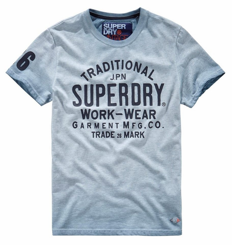 Superdry T-Shirt »WORK WEAR OVER DYED TEE« in hellblau