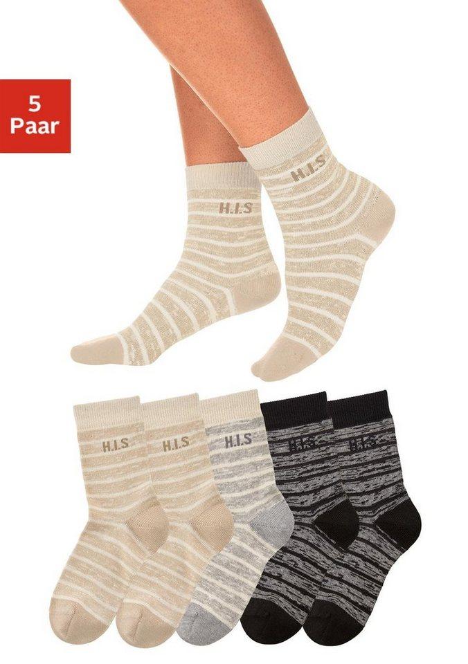 H.I.S Surfer Socken im Ringellook (5 Paar) in 5x beige-schwarz