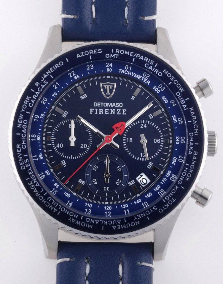 Detomaso Chronograph »FIRENZE, SL1624C-BL« in blau