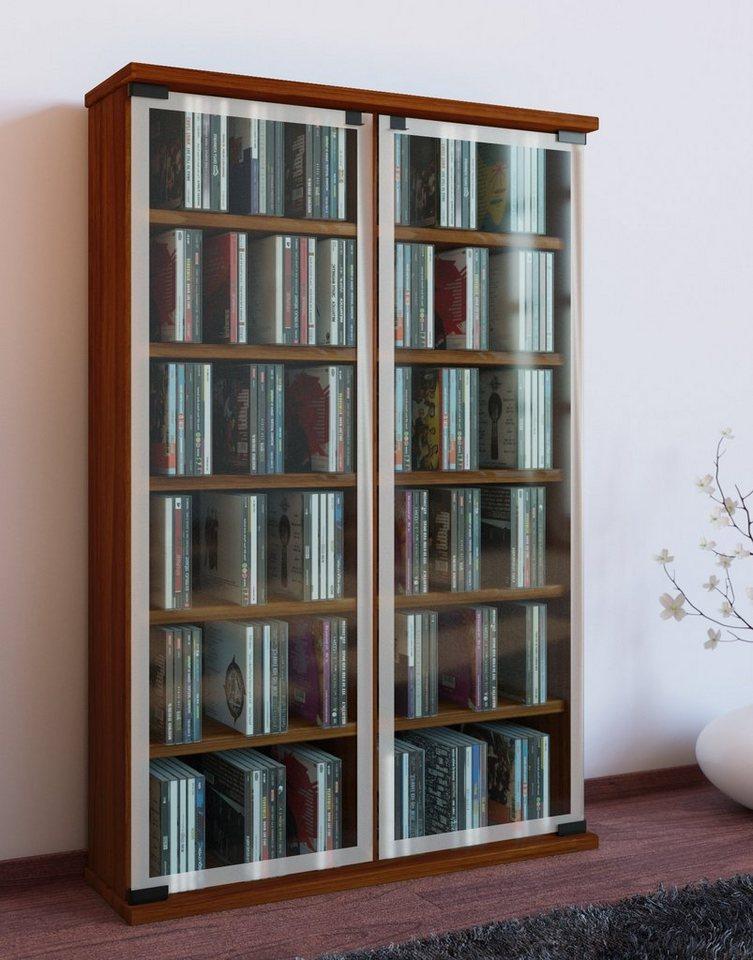 """VCM CD / DVD Möbel """"Galerie"""" / Schrank / Regal in Kern-Nussbaum"""