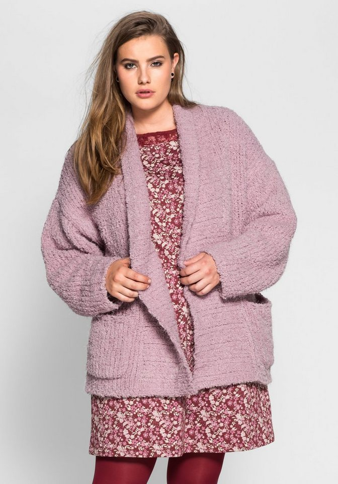 sheego Casual Cardigan mit Schalkragen in altrosé