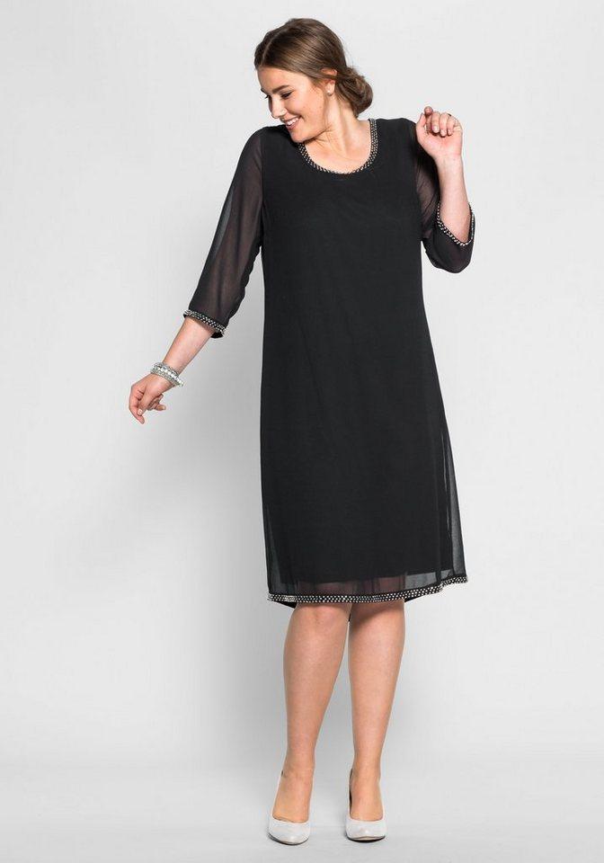 sheego Style Chiffonkleid mit Perlen in schwarz