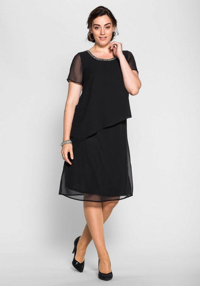 sheego Style Chiffonkleid in Lagenoptik in schwarz