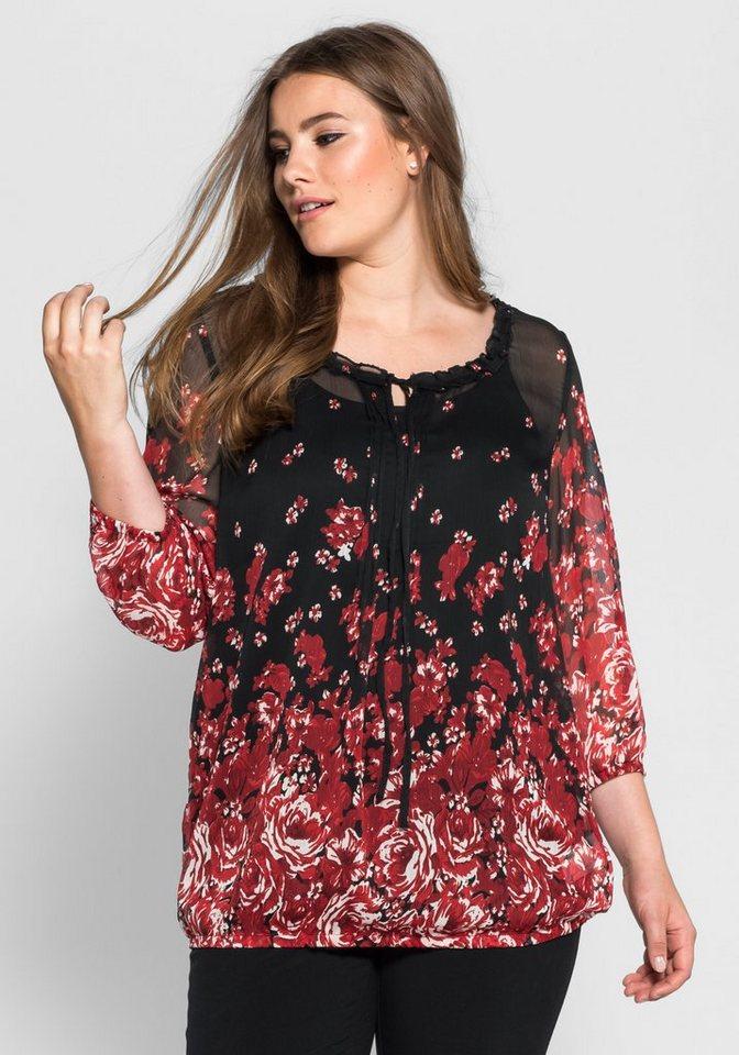 sheego Style Schlupfbluse im floralen Design in rot-schwarz