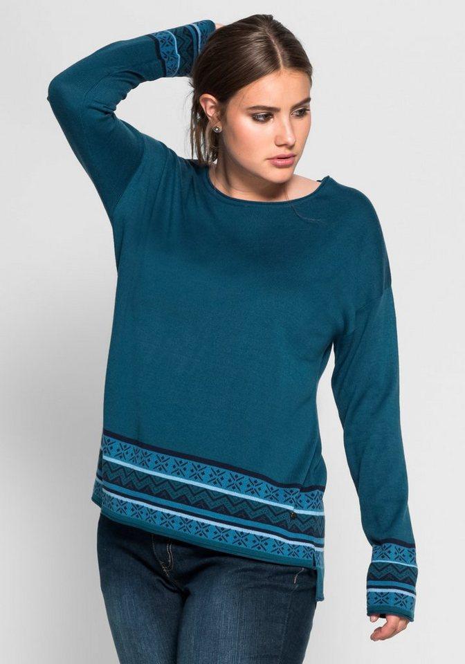 sheego Casual Pullover mit Bordüren-Jacquard in orientblau