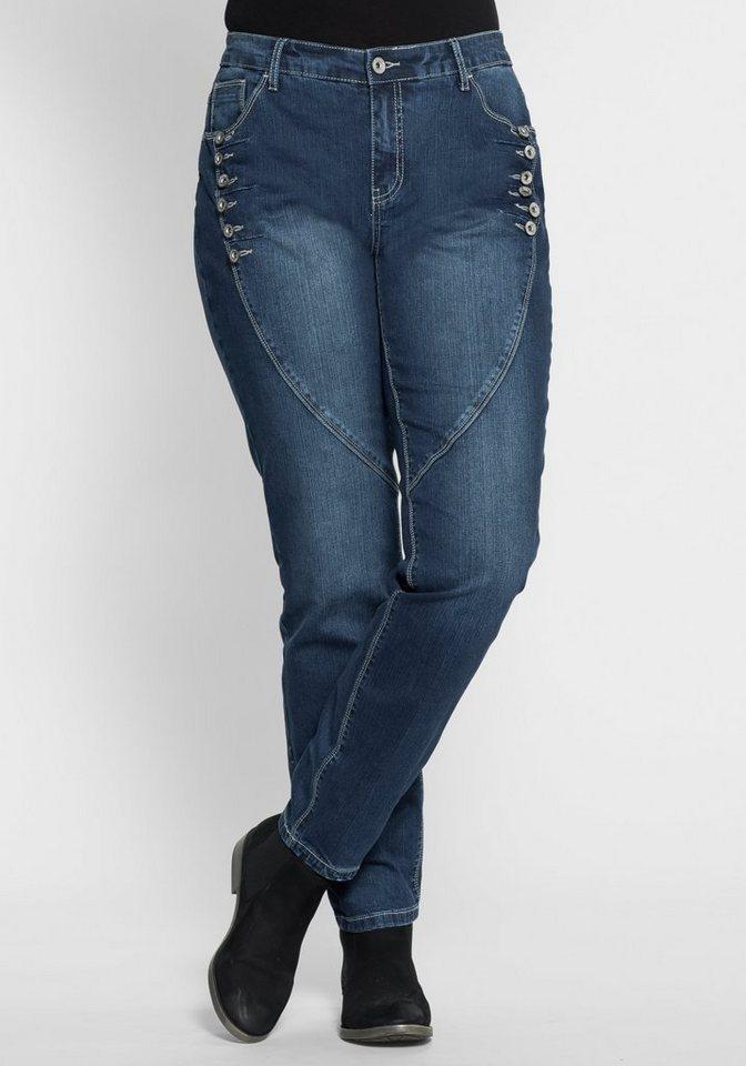 sheego Denim Boyfriend Stretch-Jeans mit Knöpfen in dark blue Denim