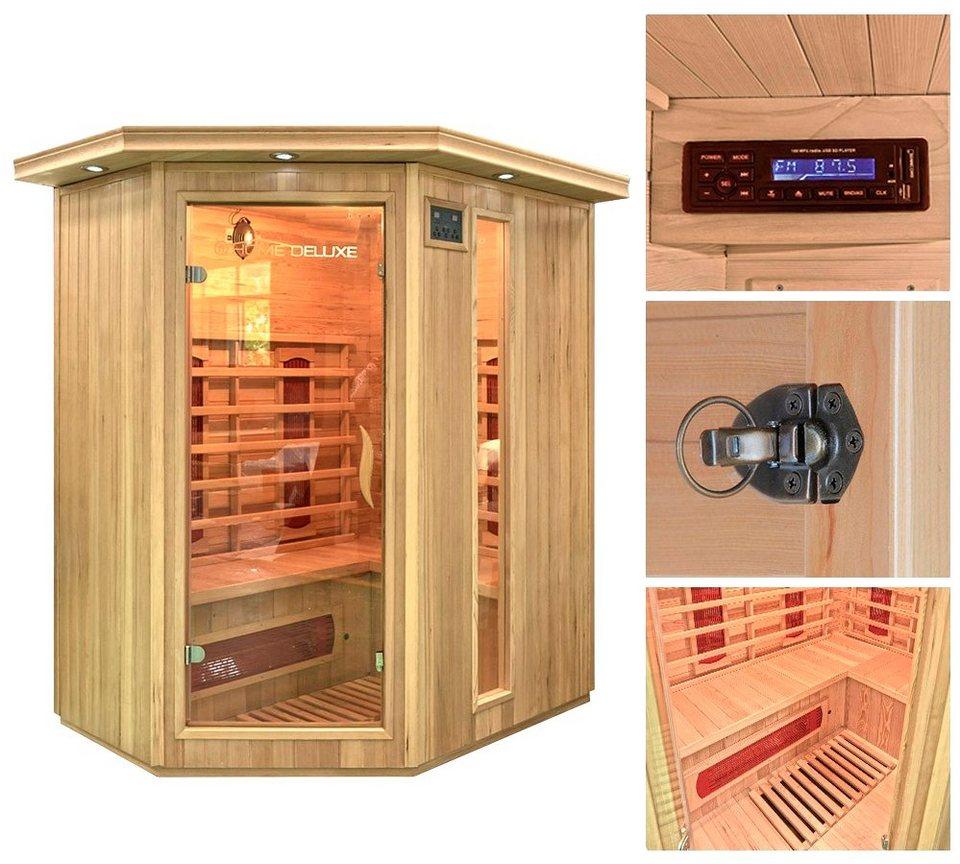 Home Deluxe Infrarotkabine »Redsun XL«, 155/120/190 cm, 40 mm, für bis zu 3 Personen in natur