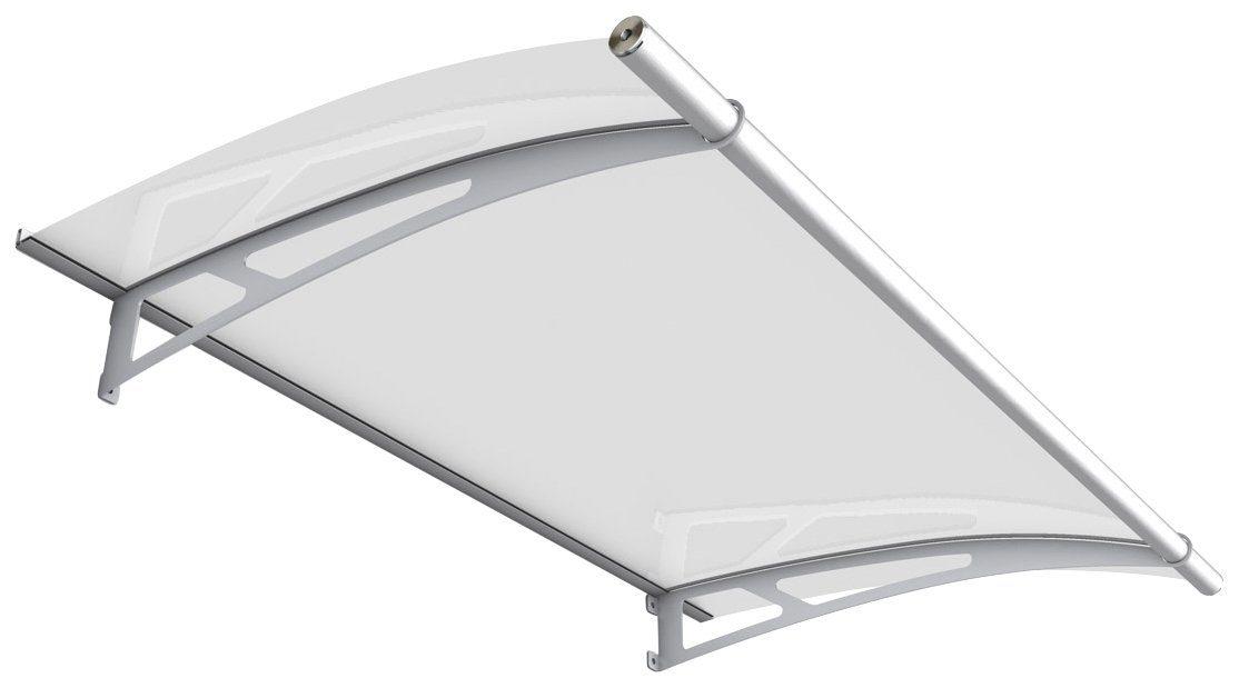 Pultvordach »Edelstahl«, 150x95x17 cm, silberfarben-weiß satiniert