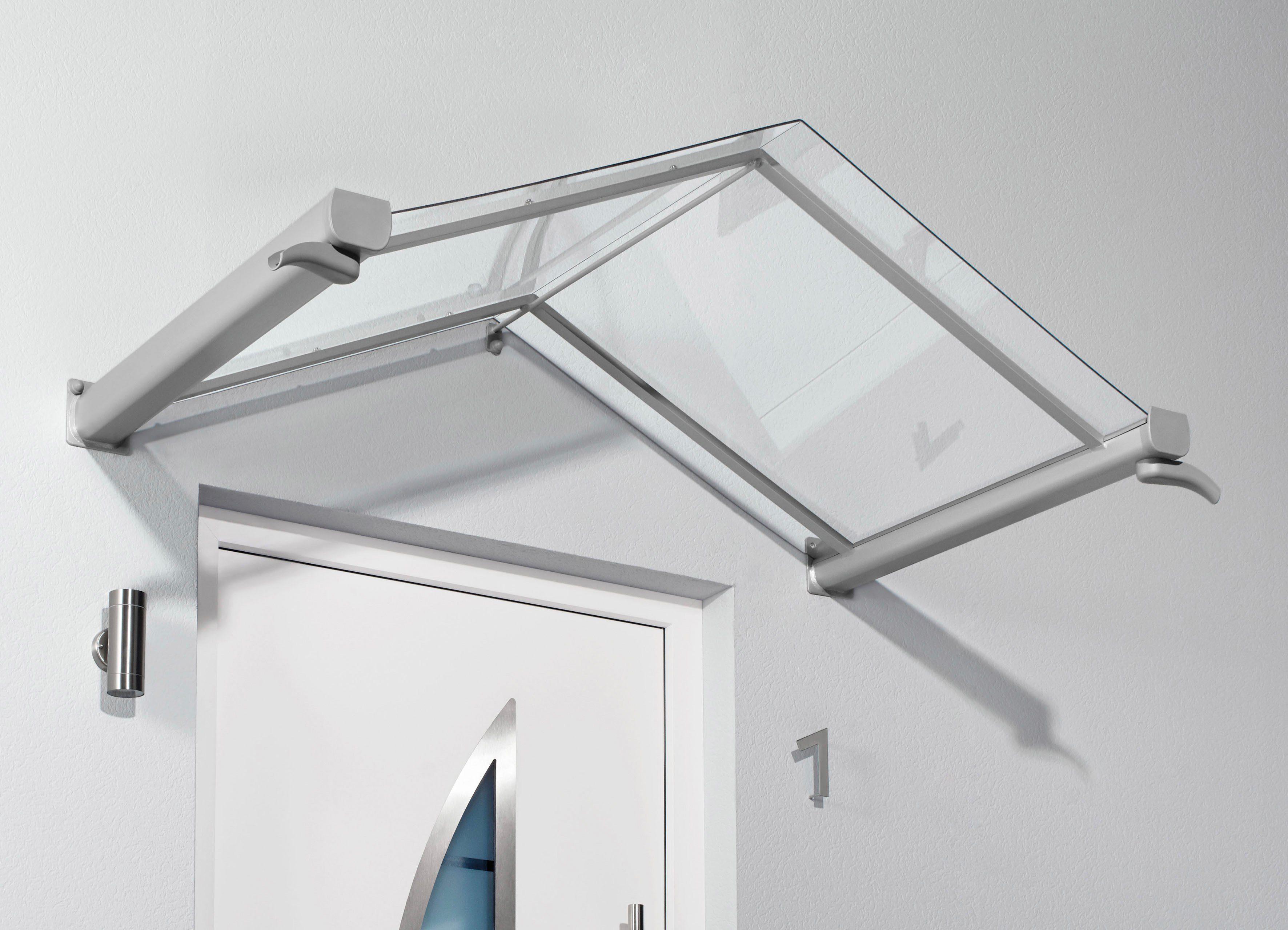 Vordach »TYP GV/T«, 200x90x40 cm, silberfarben-transparent