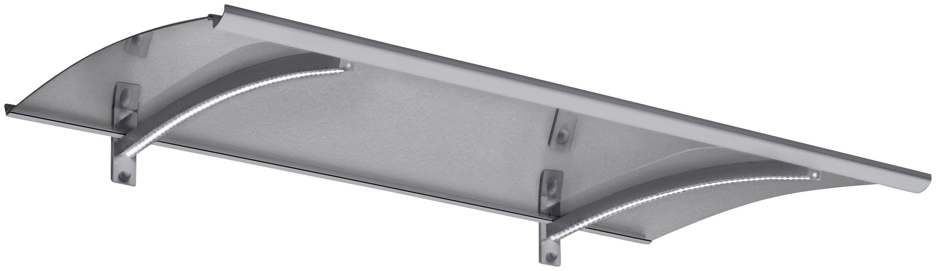 Bogenvordach »LED-Technik«, 150x90x25 cm, silberfarben-transparent