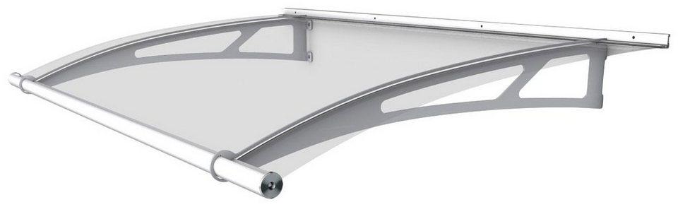 Pultvordach »LW«, 150x95x17 cm, weiß-transparent in weiß