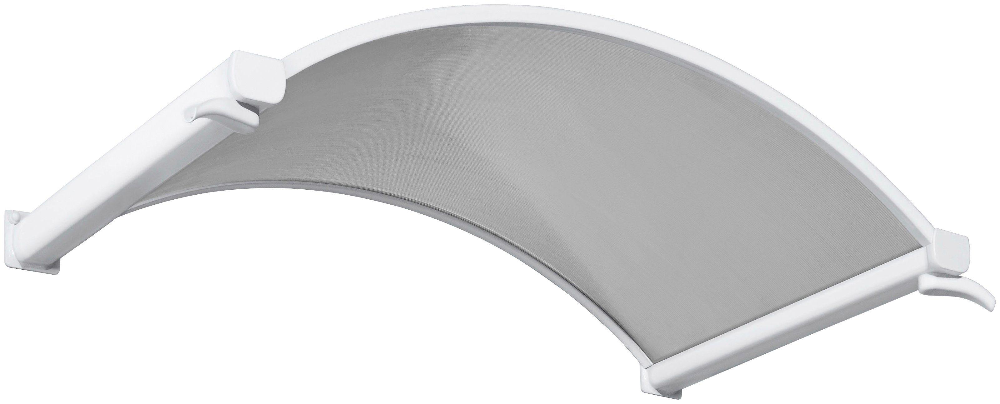 Rundbogenvordach, 160x90x30 cm, weiß-transparent