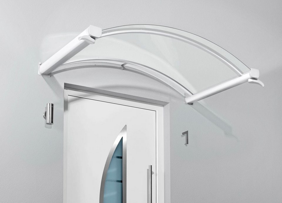 Bogenvordach »TYP BV/B«, 200x90x25 cm, weiß-transparent in weiß