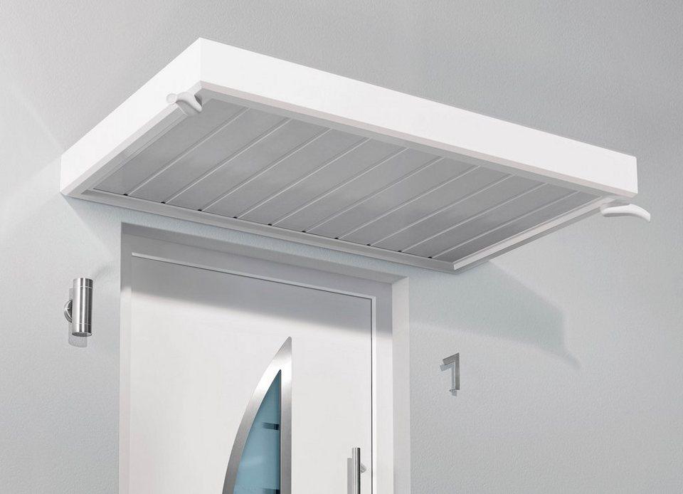 Vordach »TYP NM«, 200x90x14 cm, weiß in weiß
