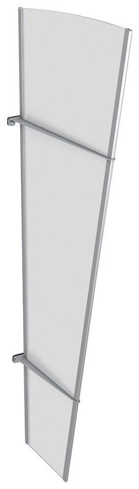 Seitenteile für Vordächer »L Edelstahl«, BxH: 62x167 cm, silberfarben/weiß satiniert in silberfarben